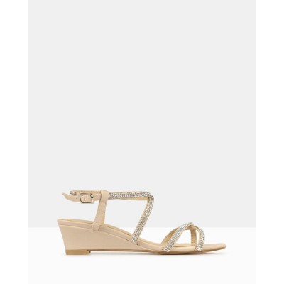 Betts Heart Bling Strap Low Wedges Nude BE733SH96TGP
